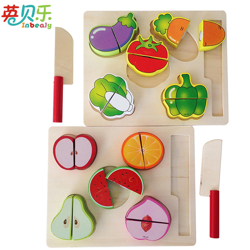 Wooden Children Kitchen Toys Pretend Play Cut Vegetable and Fruit Sets Montessori Educational Wooden Toys for Girls Boys Gifts