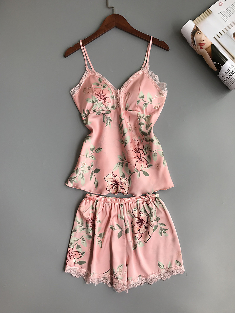 Women's Floral Printed Lace-Trim Pajama Set
