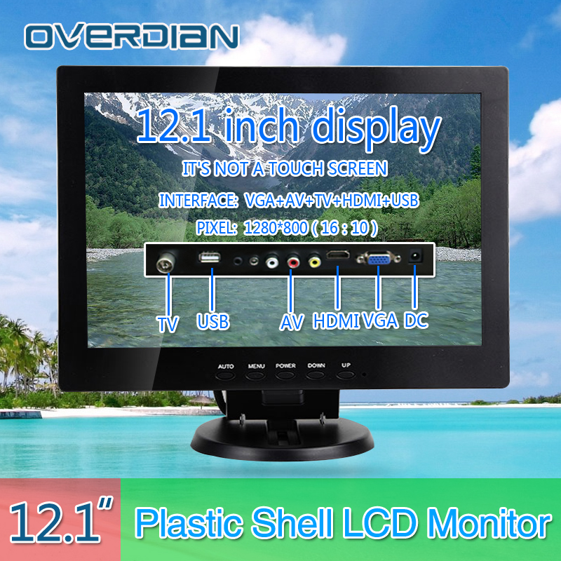 12VGA/HDMI/TV/AV/USB Connector Monitor 1280*800 Song Machine Cash Register Square Screen Monitor/Display Non-touch IPS Screen