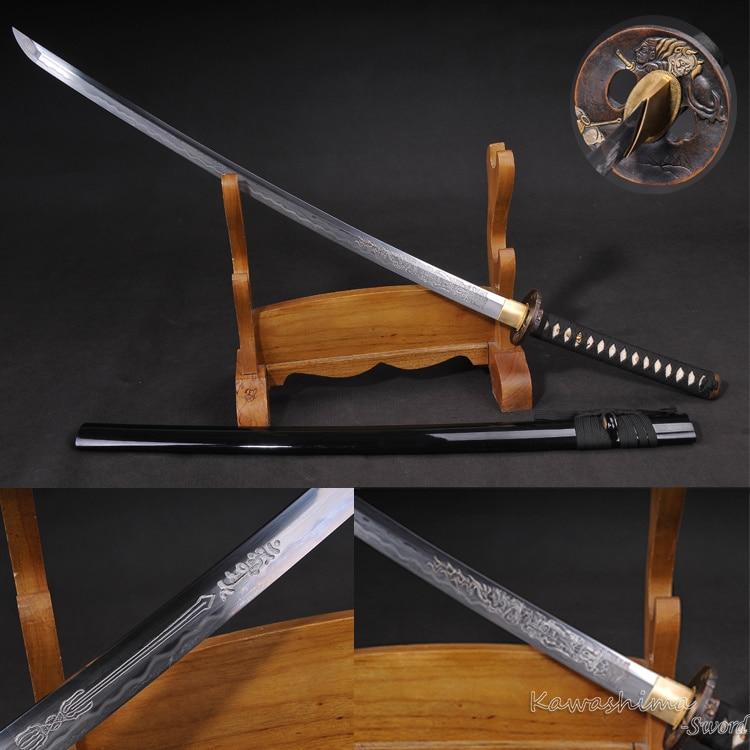 Japanese Samurai Sword Real Katana Damascus Folded Steel Heat Temper Blade Engraved Pattern Sharp Ready for