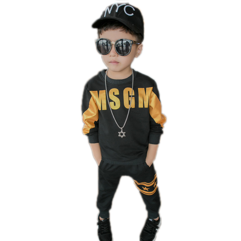 children clothing autumn kids clothes top long sleeve cartoon golden letter printed hoodies&sweatshirt+pants boys sports suit fyh boys long sleeve sports set school boys casual printed suit hooded sweatshirt pants kids autumn clothes children tracksuit