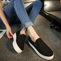 Woman Platform Canvas Shoes Spring Slip On Flats Casual Ladies Loafers leisure Solid Creepers Floral Inside Shoes Baok-603