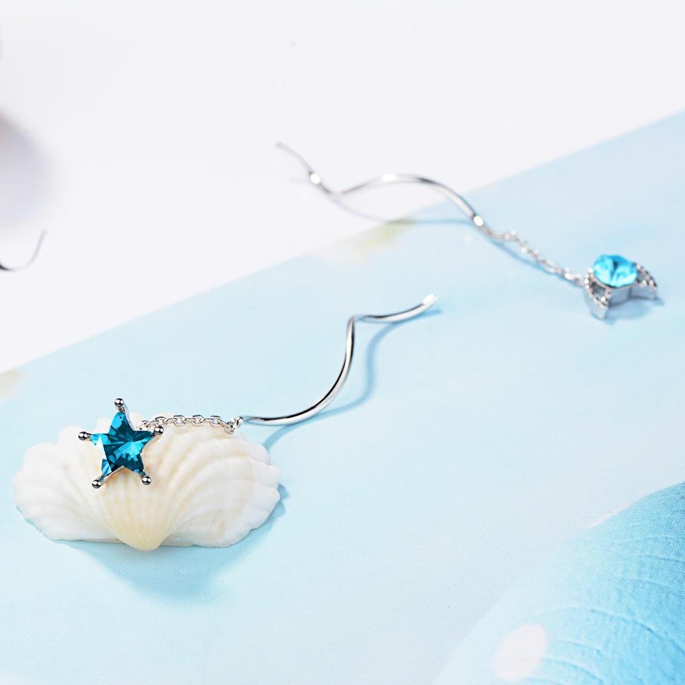 New arrival fashion asymmetric moon star blue crystal 925 sterling silver ladies tassels stud earrings jewelry for women girls in Stud Earrings from Jewelry Accessories