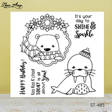 Cute Scarf Bear Transparent Silicone Stamps for DIY Scrapbooking/Photo Album Decorative Card Making Clear Supplies