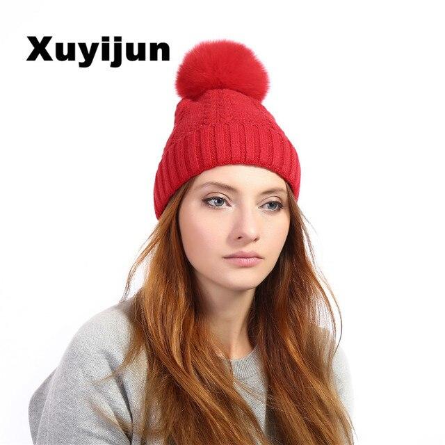Xuyijun 100% fourrure naturelle fourrure de renard couleur pom bonnet de  laine isolé vêtements d fb12f7bcab2