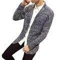 2017 Primavera Otoño Moda Suéter de Punto de Los Hombres Solid Casual Coreano Delgado Larga chaqueta de Punto de Los Hombres (Tamaño de Asia)