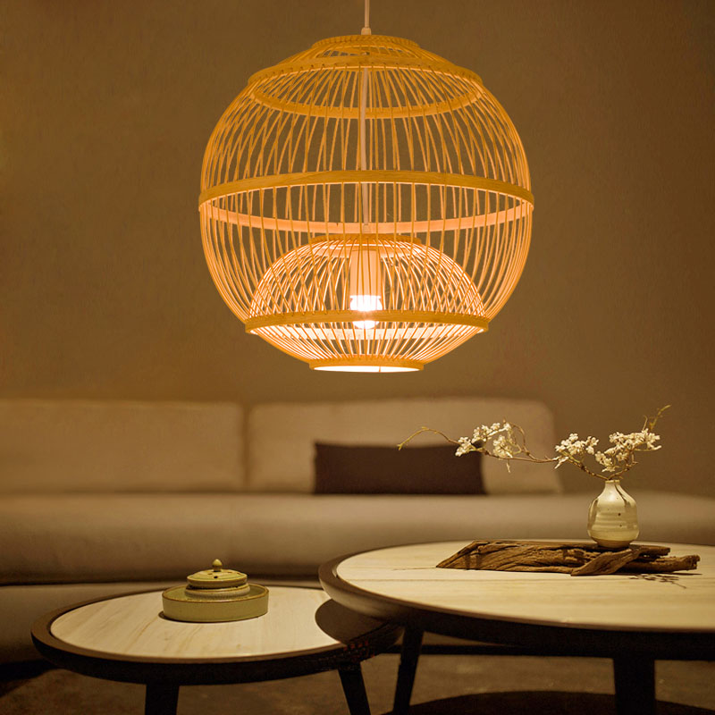 Chinese bamboo Pendant Lights creative personality round Garden Restaurant bedroom balcony cage tatami Pendant lamps ZA627 ZL122 japanese style pendant lamps bamboo cage tea pot shop lampshade southeast lighting spherical creative lights za627 zl122