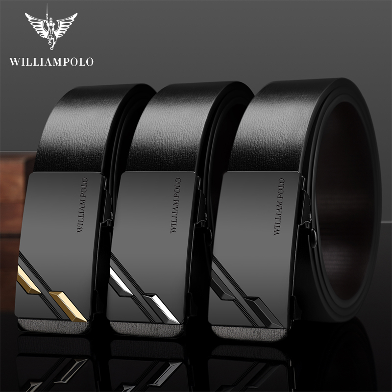 Williampolo 100% Genuine Leather Men Belt Luxury Brand Designer Leather Automatic Buckle Waist Young Men Fashion Design Belt