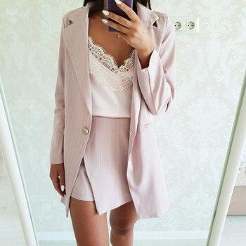 Mode Femmes Jupe Costumes Un Bouton Entaillé Rayé Blazer Vestes et Slim Mini Jupes Deux Pièces OL Définit Femme Tenues 2019 1