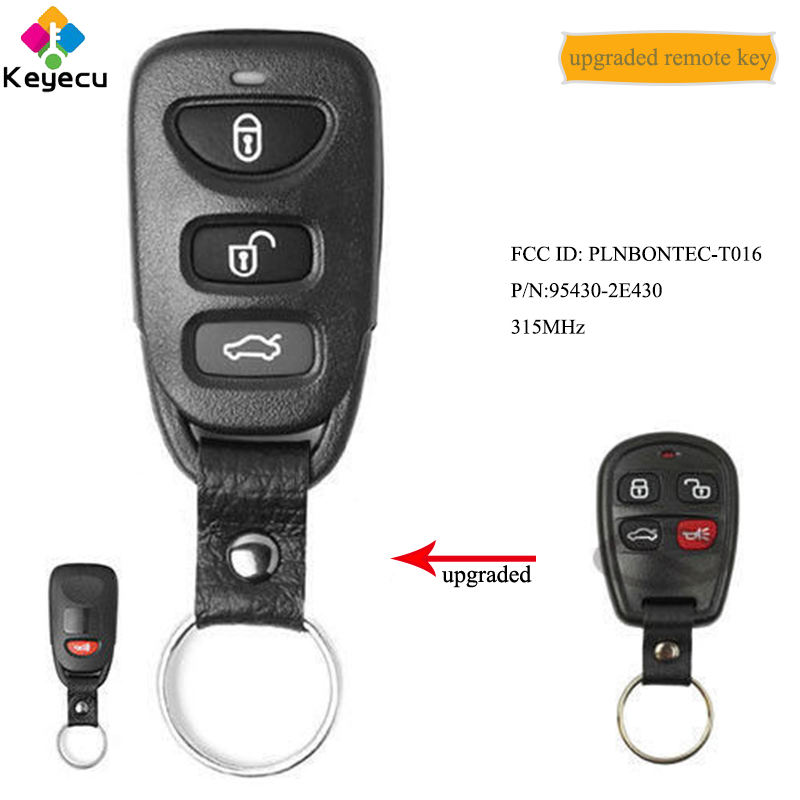 KEYECU Upgraded Keyless Entry Remote Car Key With 4 Buttons 315MHz - FOB for <font><b>Kia</b></font> <font><b>Sorento</b></font> 2004 <font><b>2005</b></font> 2006 FCC ID: PLNBONTEC-T016 image