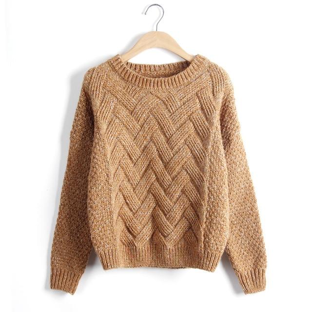 Loose Vintage Knited O-Neck Pullover  1