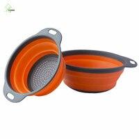 YIHONG 2 unids Plegable cesta de Drenaje cesta De Frutas Vegetales Colador De Silicona plegable colador plegable cesta de lavado 1314c