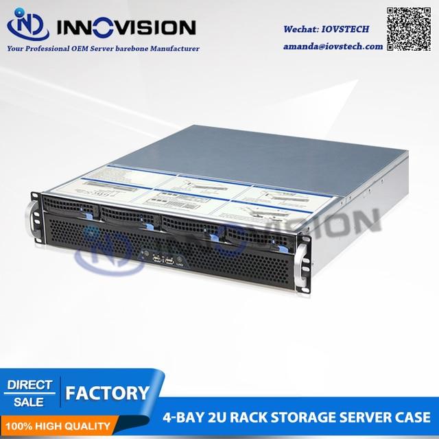 Flexível ultra curto 2u caso l = 400mm enorme armazenamento 4 baías hotswap 2u rack servidor chassi para firewall/nvr