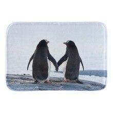 Cute Penguins In Love Doormat Wedding Home Decor Door Mats Soft Lightness Indoor Mat Short Plush Fabric Bathroom Mats For Couple