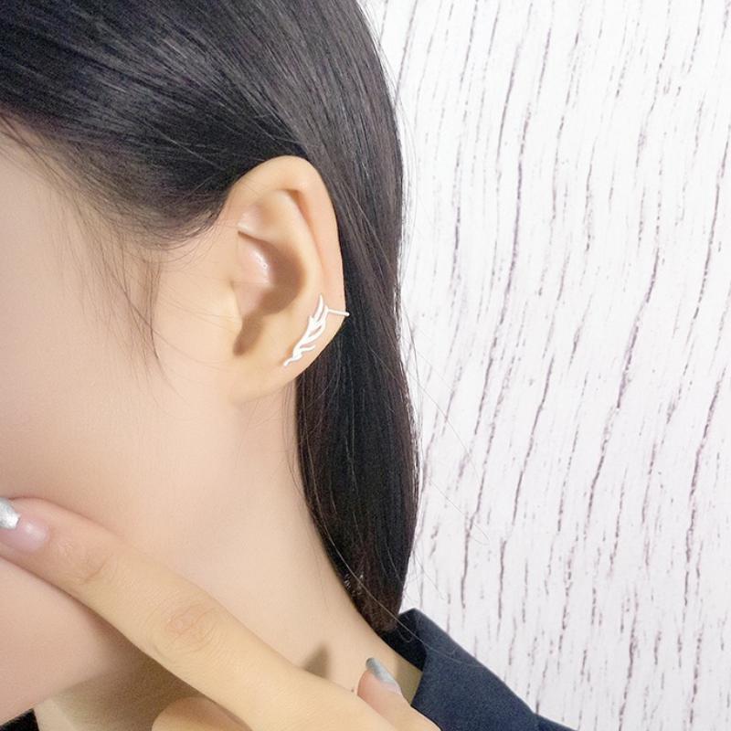 Elitven Antlers Ear Climber Clip on Earrings Korea Jewelry Solid 925 Sterling Silver Stud for Women Grils Gift