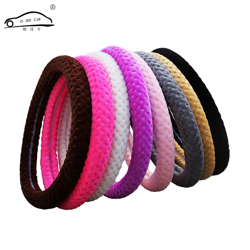 O SHI Car Steering Wheel Collar Winter Comfort Soft/Fashionable  Warm Steering Wheel Cover Black with Purple Factory direct-in Steering Covers from Automobiles & Motorcycles