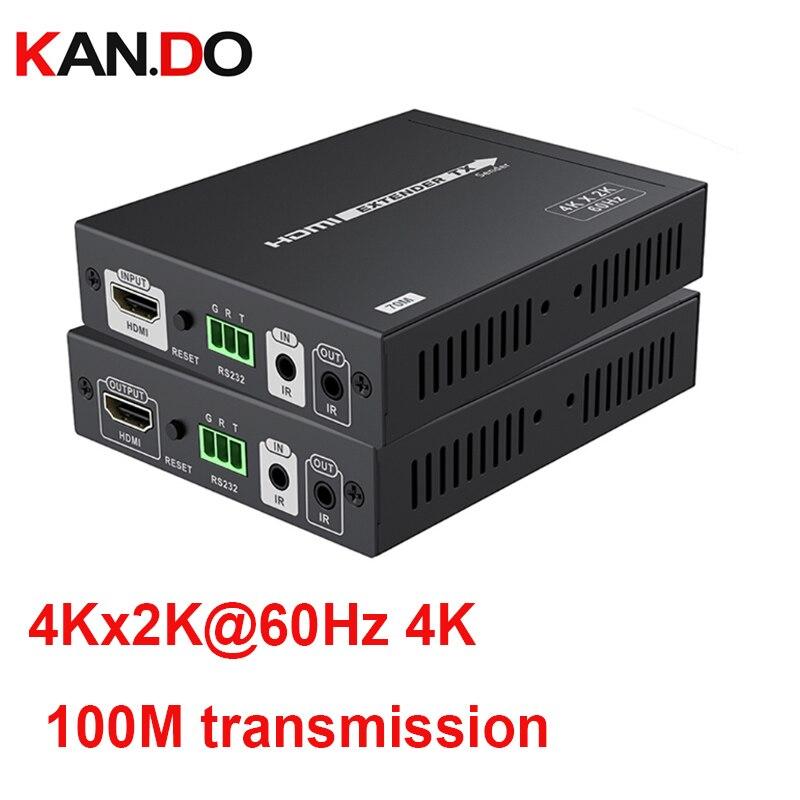 Hdmi 100 m transmissão 4 K * 2K @ 60Hz HDMI CEC Extensor HDBaseT 2.0 Lossless HDCP2.2 Ultra HD CEC 24 bits Deep Color R232 Controle