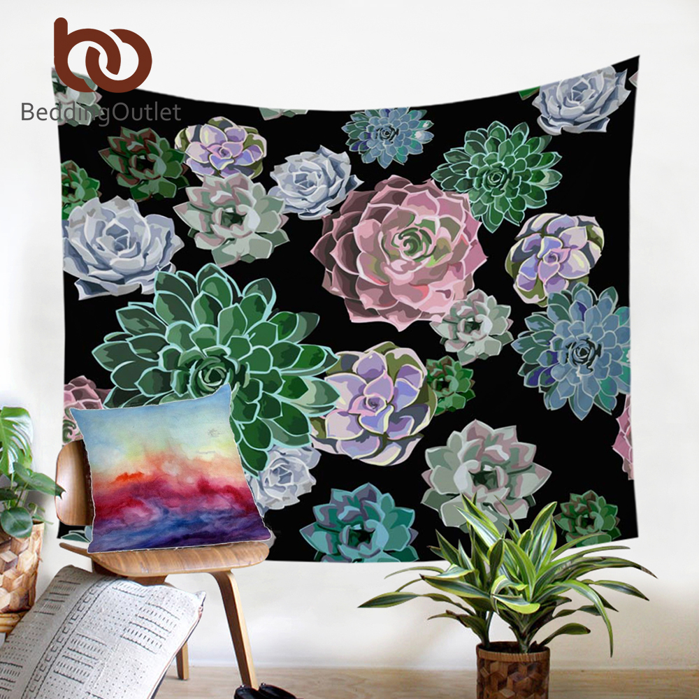 BeddingOutlet Succulent Tapestry Plants Decorative Wall Hanging Floral Printed Bedspreads Green Pink Cactus Sheets 130x150cm