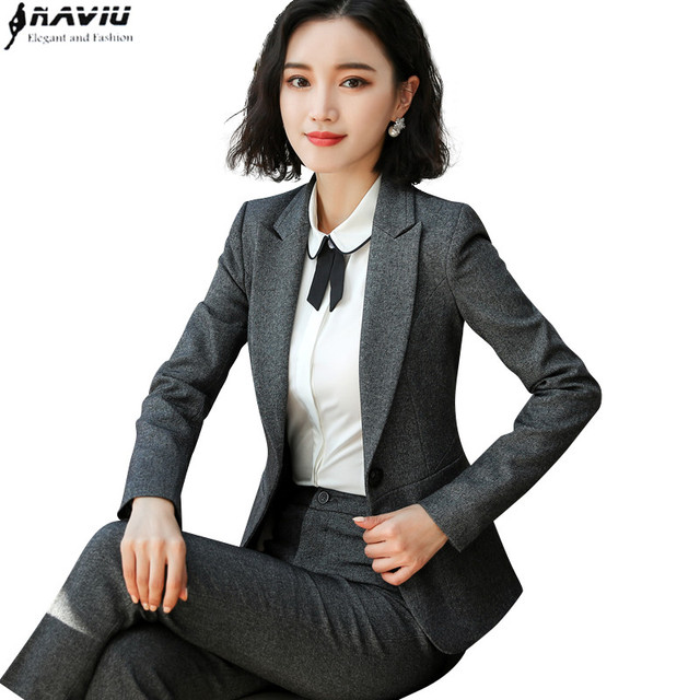 New Fashion women pants suits OL Business interview plus size work wear  office ladies long sleeve slim blazer and pants set dfe70b33f