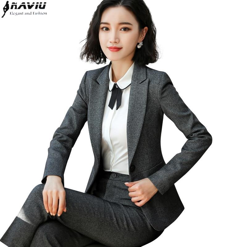 新ファッション女性パンツスーツ OL ビジネスインタビュープラスサイズ作業服長袖スリムブレザーとパンツセット  グループ上の レディース衣服 からの パンツスーツ の中 1