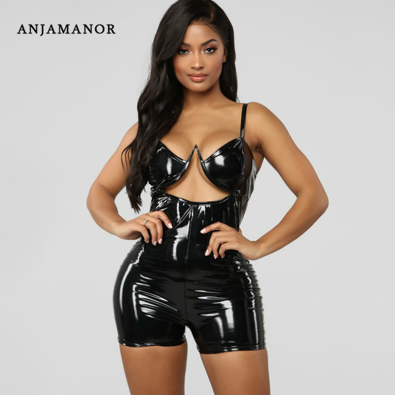 ANJAMANOR Pu Leather Hollow Spaghetti Strap Bodycon   Jumpsuit   Sexy Romper Club One Piece Outfits Neon Yellow Hot Pink D55-AA23