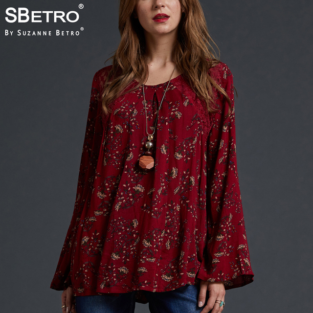 6c8c6d14c73d2d SBetro by Suzanne Betro Lace Floral Print Top Shirts Crew neck Eyelet Long Bell  Sleeve Casual Tunic Tops Blouses Women Plus Size