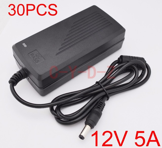 30pcs 12V5A High quality, IC program  AC 100V 240V Converter AdapterDC 12V 5A 60W Power Supply DC 5.5mm x 2.1mm 2.5mm