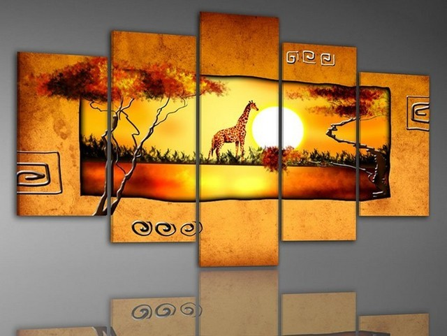 hand-painted oil wall art Warm color forest deer home decoration abstract Landscape oil painting on canvas 5pcs/set mixorde