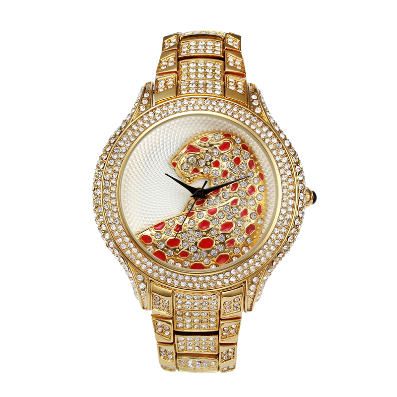 Diamond Mosaic Watches for Women Gold Ladies Pink Jewel Tiger Wristwatch Quartz Fashion Casual Dress Gold Silver Girl's Watch