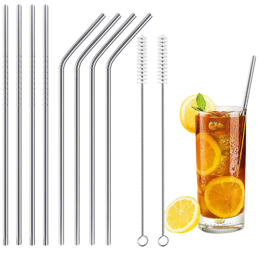 Smoothie Milk Reusable 8 Set Metal Drinking Straws with 2 Cleaning Brush for Cocktail Drinks Stainless Steel Straws Juices