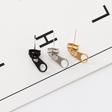 Punk Rock Zipper Earrings Tools Stud Stainless Steel Tragus Cartilage Ear Piercing Women Men Body Jewelry