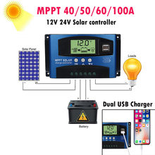 MPPT 40/50/60/100A Solar Charge Controller Dual USB LCD Display 12V 24V Auto Solar Cell Panel Charger Regulator With Load#F(China)