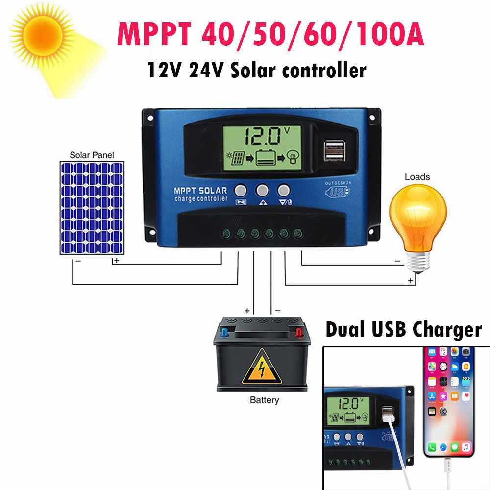 MPPT 40/50/60/100A controlador de carga Solar Dual USB pantalla LCD 12V 24V Auto célula Solar del regulador del cargador del Panel con la carga # F
