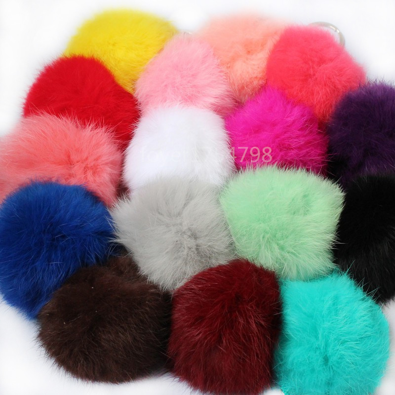 Bunny <font><b>Pom</b></font> <font><b>Pom</b></font> Key Chain Real Fur Ball Pompom Car <font><b>Keyring</b></font> Rabbit Fur Ball Keychain Pompons Bag Charms With Chains <font><b>Keyring</b></font> image
