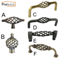 Probrico Vintage Kitchen Cabinet Handles Antique Furniture Drawer Knobs European Rural Birdcage Shape Cupboard Pulls
