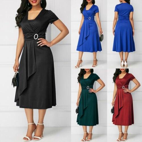 Summer Dresses 2019 New Women Summer Casual Short Sleeve V Neck Slim High Waist Elegant Midi Dress Plus Size in Dresses from Women 39 s Clothing