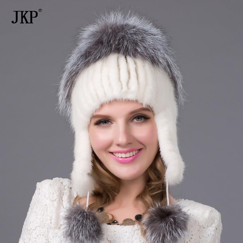 Ruské zimní klobouky dámské pravé přírodní norkové kožušinové víčko se stříbrnou liškou kůže 2018 dámská móda high-end dámská kšiltovka DHY-22