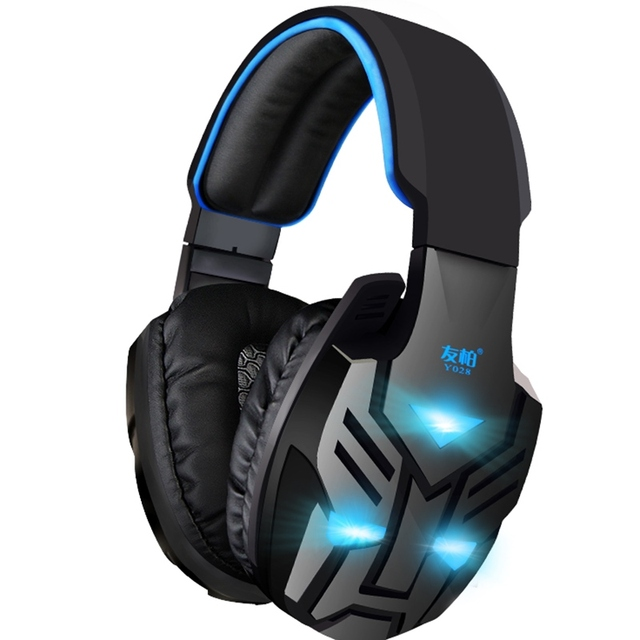 Y028 PC Gaming Headset with Microphone for Computer Stereo Headphones Big Glowing Earphones Universal Wired Luminous Earpiece