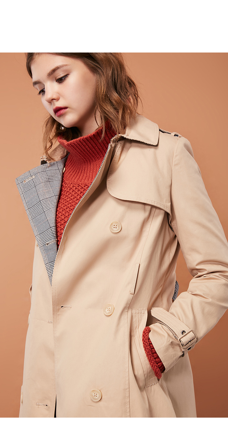ONLY Women's Bi-tone Fabric Double-breasted Wind Coat 118336571 7