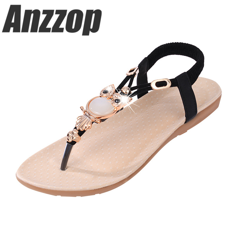 76cc3c5974239 ANZZOP Women's shoes 2019 summer new owl retro mature beaded casual fashion  flat sandals toe beach women's sandals promotion
