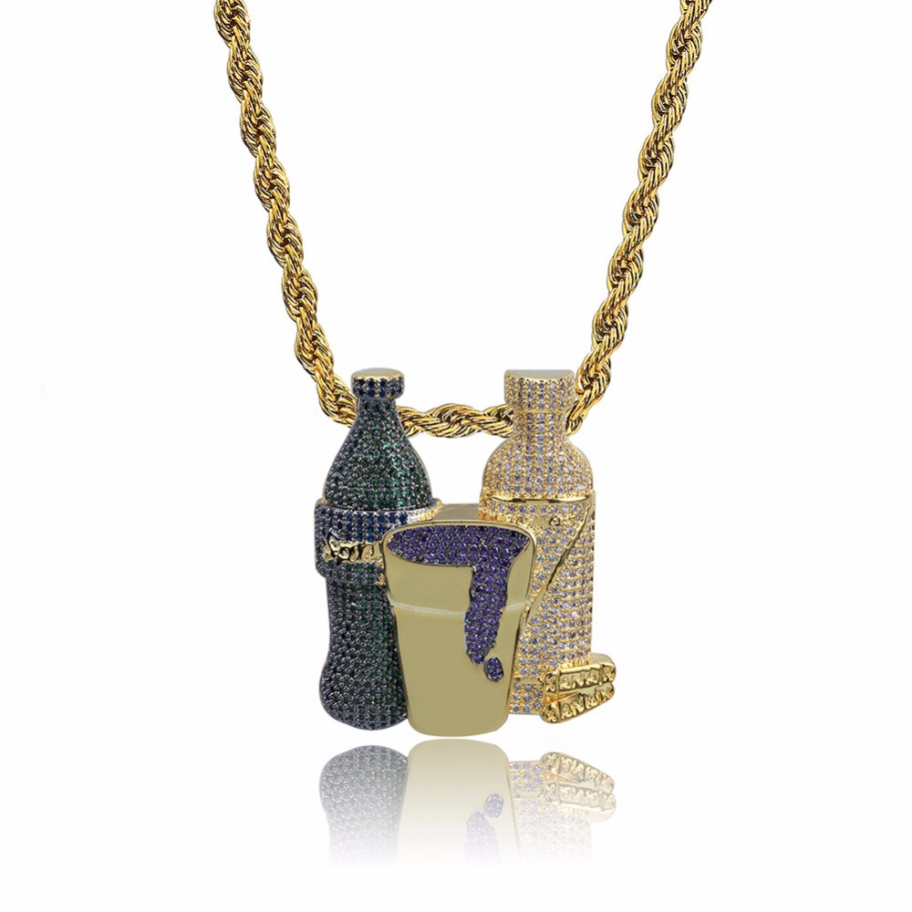 Iced Out Wine bottle street Necklace & Pendant Hip Hop Cubic Necklace For Men Women Gold Silver Chain Jewelry Gfit dropshipping