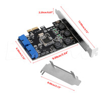 5Gbps Low Profile Bracket Internal 2 Ports 19Pin USB 3 0 Card PCI E To PCI