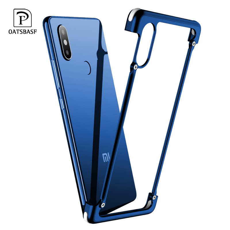 OATSBASF Luxury Airbag Metal Protection Case For Xiaomi 8 8SE Case lite Personality Shell for Xiaomi MI 8 Slim Metal Bumpe Cover