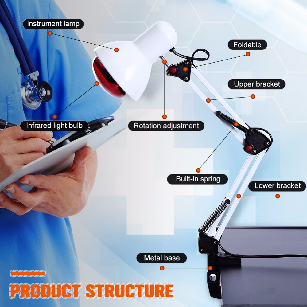 Elektryczny światło podczerwone ogrzewanie lampa terapeutyczna 100 W bezpieczne ciała mięśni ulgę W bólu urządzenie gospodarstwa domowego opieki zdrowotnej w Masaż i relaks od Uroda i zdrowie na  Grupa 1