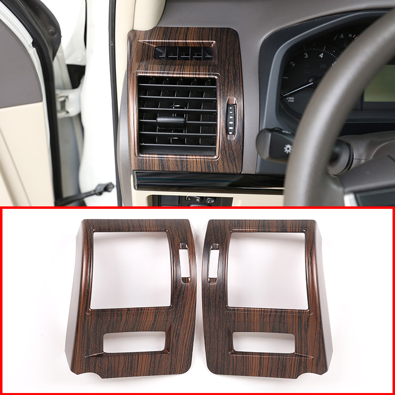 2 Pcs Pine Wood Grain ABS Sid Air Conditioning Vent Frame Trim For <font><b>Toyota</b></font> Land Cruiser <font><b>Prado</b></font> FJ150 150 2018 <font><b>2019</b></font> Car <font><b>Accessories</b></font> image