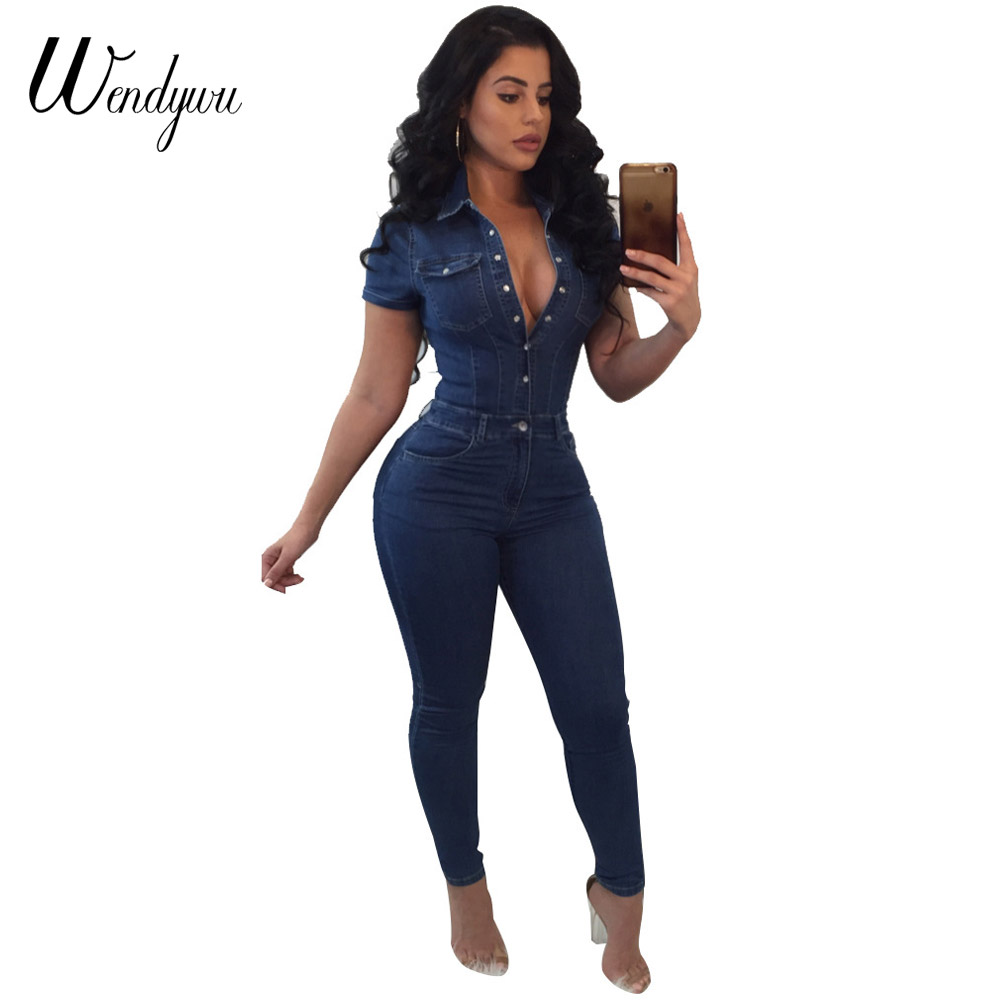 fac289f0c02b Detail Feedback Questions about Wendywu Plus Size Good Quality Jeans  Jumpsuit For Women Short Sleeve Fashion Bodysuit Rompers And Jumpsuits 2018  Denim ...