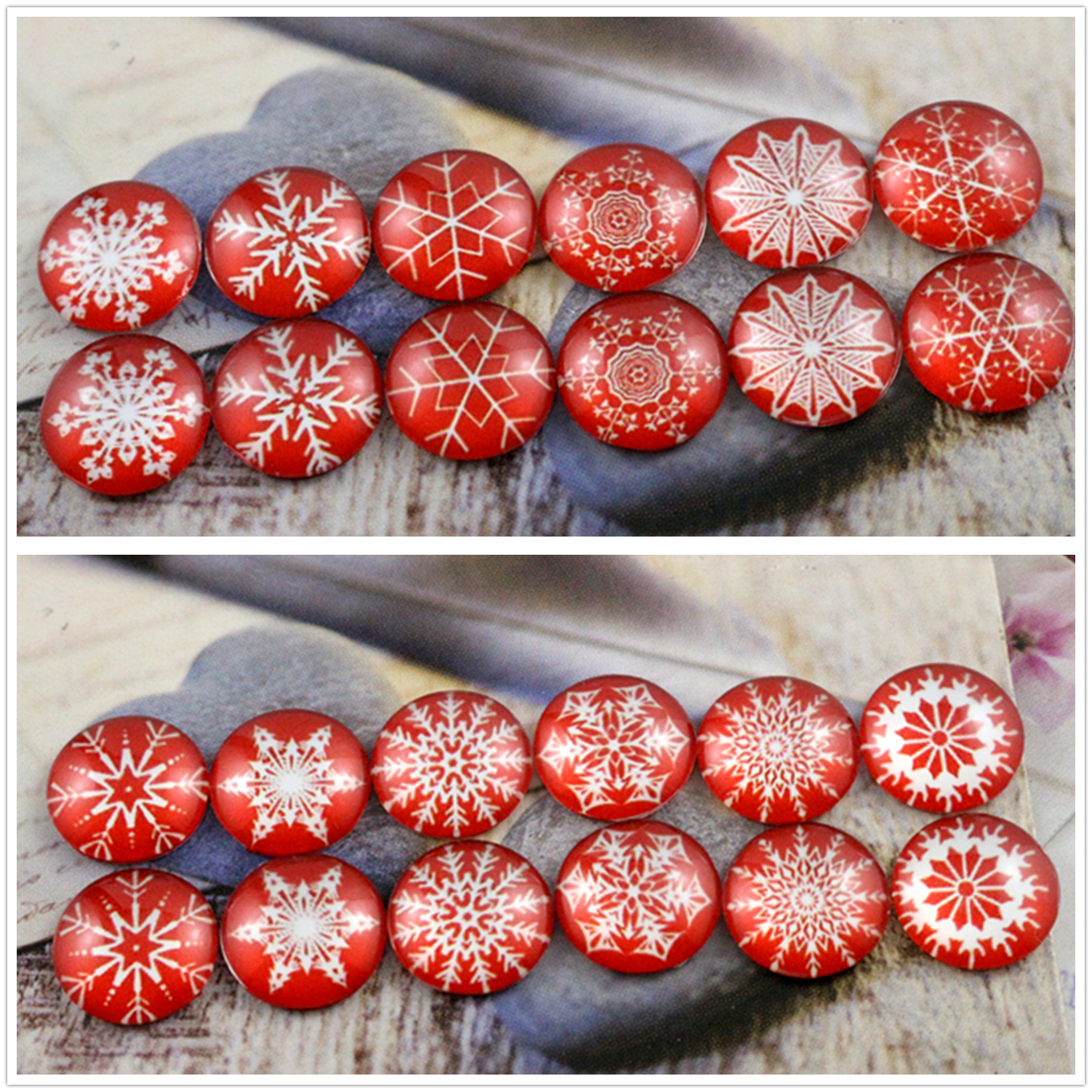 12pcs (One Set) Two Style 12mm Red Background Snowflakes Handmade Glass Cabochons Pattern Domed Jewelry Accessories Supplies