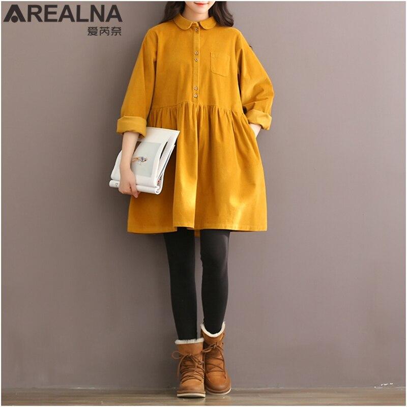 Hohe Qualität Vintage Cord Frauen Kleid Langarm Peter Pan Kragen Mori Mädchen Gelb Rot Herbst Winter Shirt Kleider Vestidos