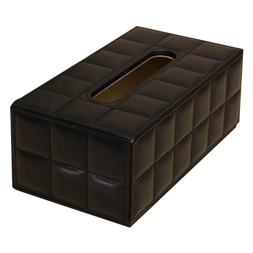 PHFU Durable Home Car Rectangle PU Leather Tissue Box Paper Holder Case Cover Napkin black