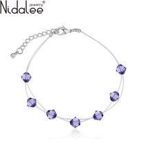 2016 New Design No Allergic Rope Chain Bracelet Manchette Crystal From Swarovski Bracelets & Bangles For Women Party Jewelry 545